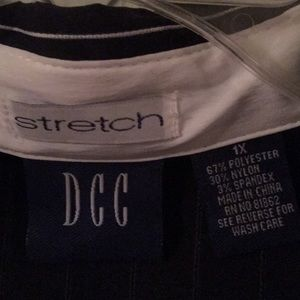 DCC Tops - 2/$20 DCC Stretch Black with White Pin Strips 1X